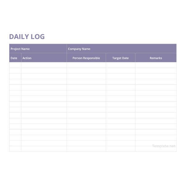 daily log template