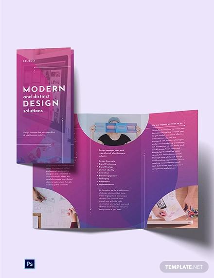 design company tri fold brochure template