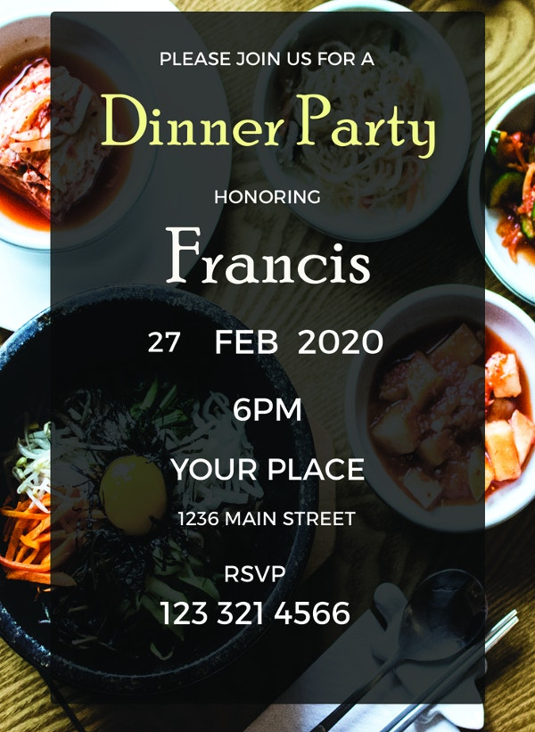 dinner party invitation to edit