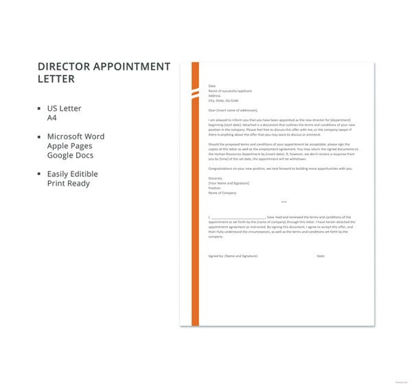 director appointment letter template
