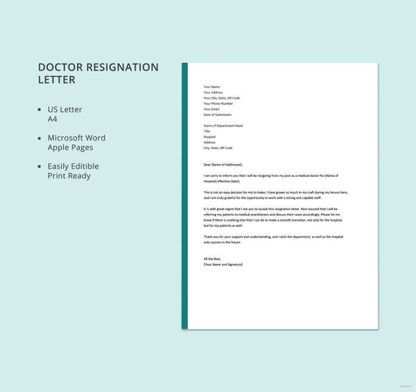 doctor resignation letter template