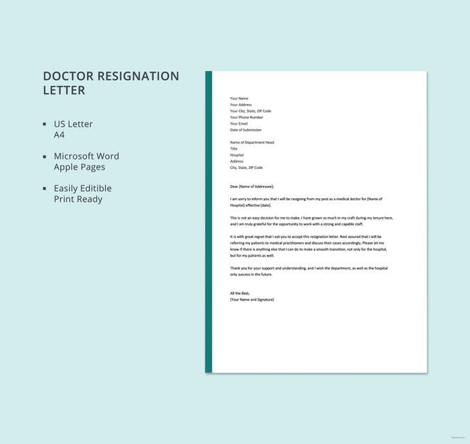 doctor resignation letter template1