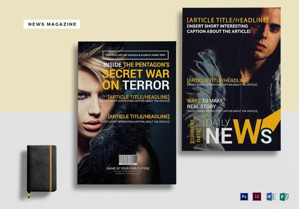 easy to edit news magazine template to print