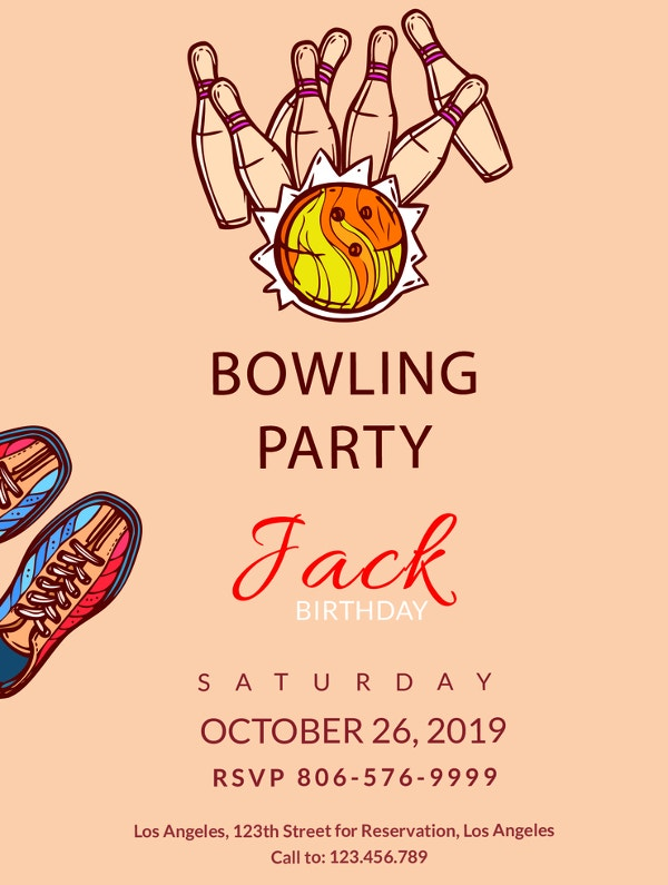 editable bowling invitation party template