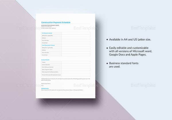 editable-construction-payment-schedule-template