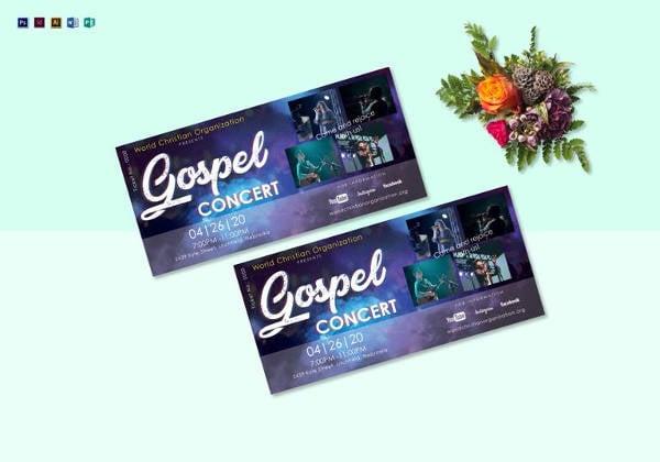editable gospel concert ticket template