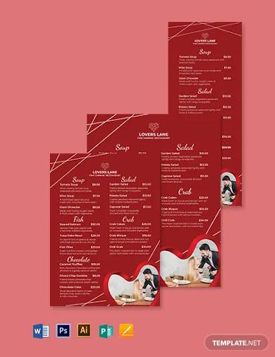 editable valentines day menu template