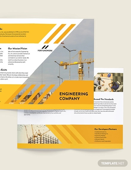 engineering company bi fold brochure template