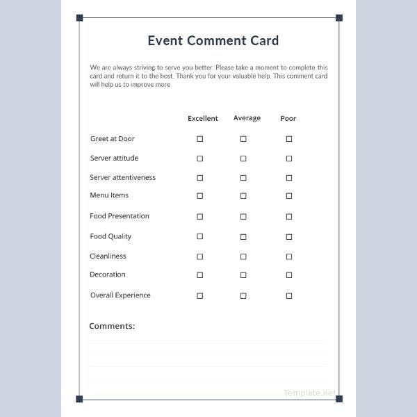 Event Comment Card Template
