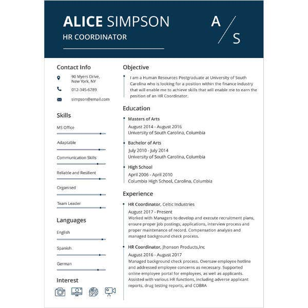 experienced hr coordinator resume template2