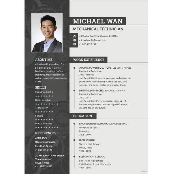 mechanical engineering cv example