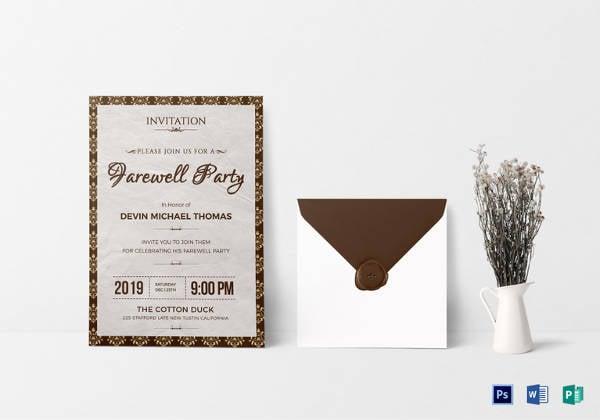 farewell invitation template in psd1