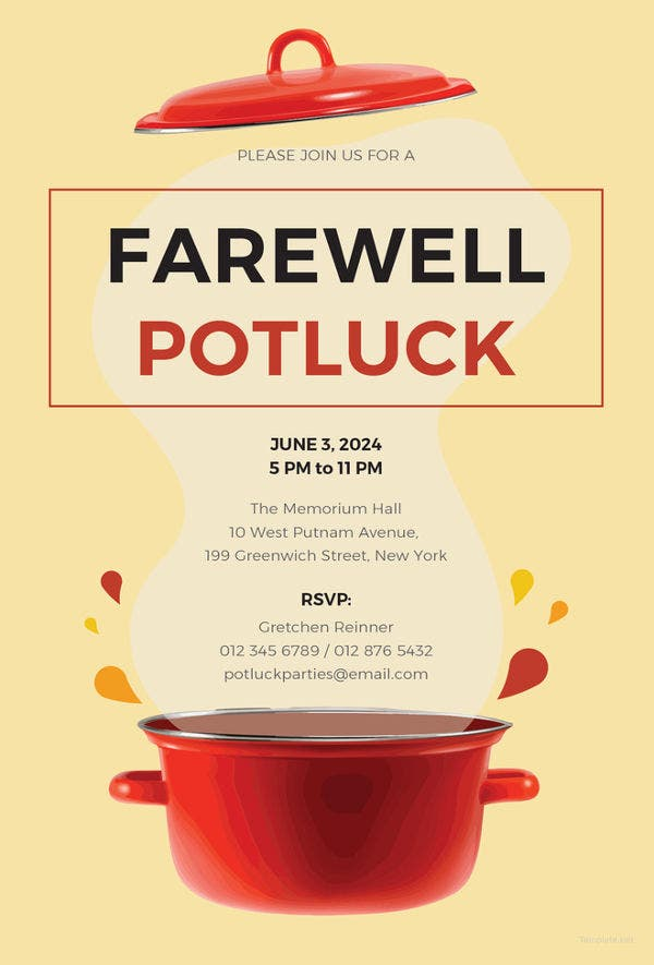 7 potluck party invitations free sample example format download