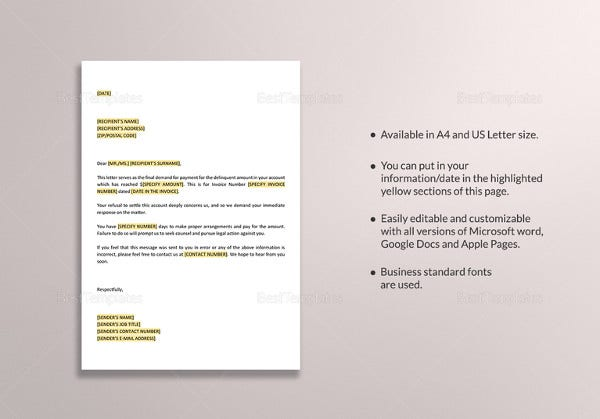 Payment letter templates 16 free pdf documents download free final demand for payment letter template spiritdancerdesigns Gallery