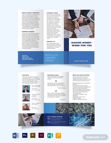 financial services tri fold brochure template