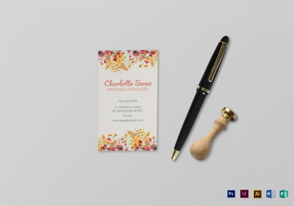 floral business card template in psd