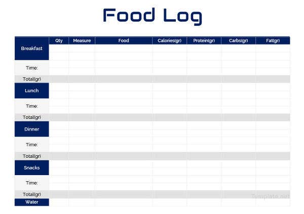 30 Food Log Templates Doc Pdf Excel Free Premium Templates