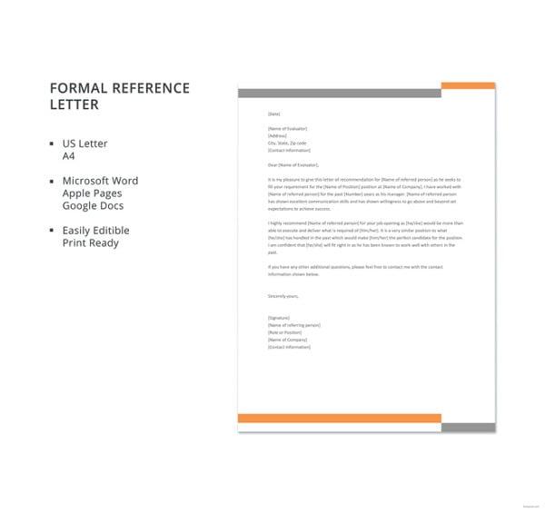 formal reference letter