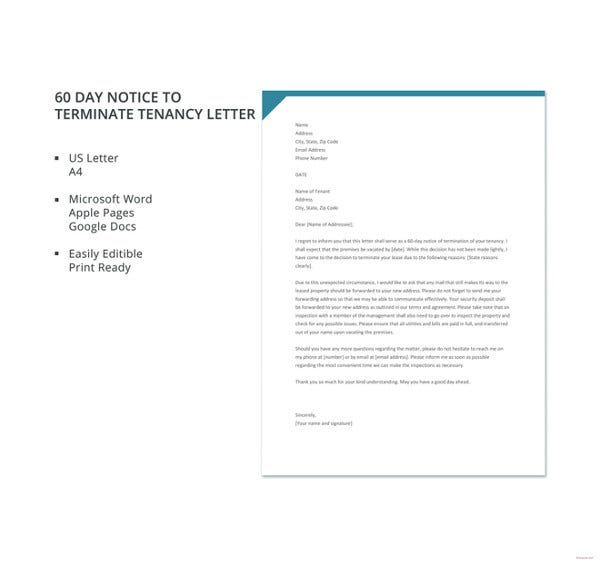 Tenant letter templates 9 free sample example format download free 60 day notice to terminate tenancy letter template spiritdancerdesigns Image collections