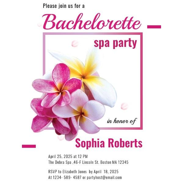 free bachelorette spa party invitation template
