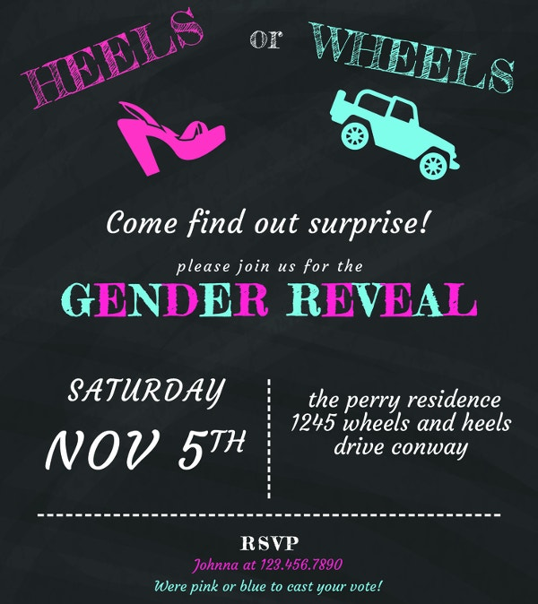 free chalkboard gender reveal invitation template