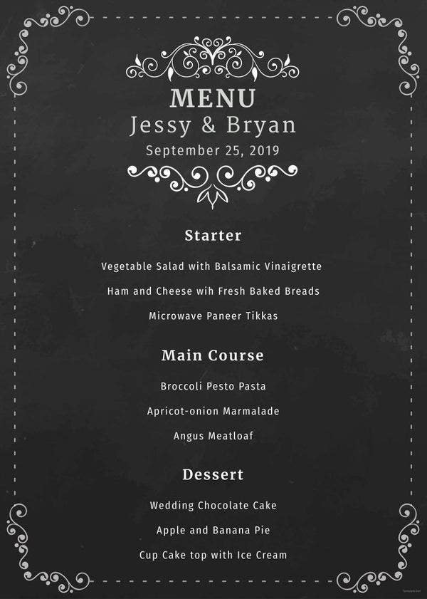 free chalkboard wedding menu