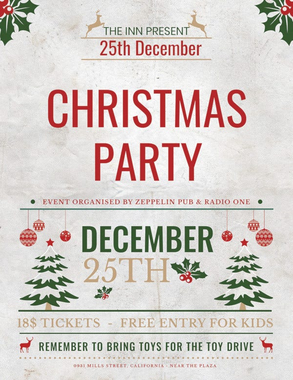 free christmas event party flyer template