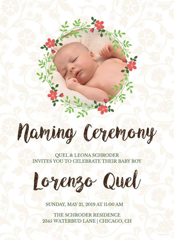 Naming Ceremony Invitation Templates Free Urgup Kapook Co
