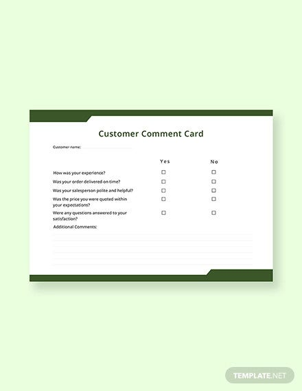 free customer comment card template1