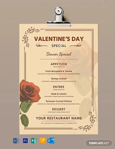 free editable valentines day menu