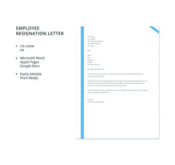 free employee resignation letter