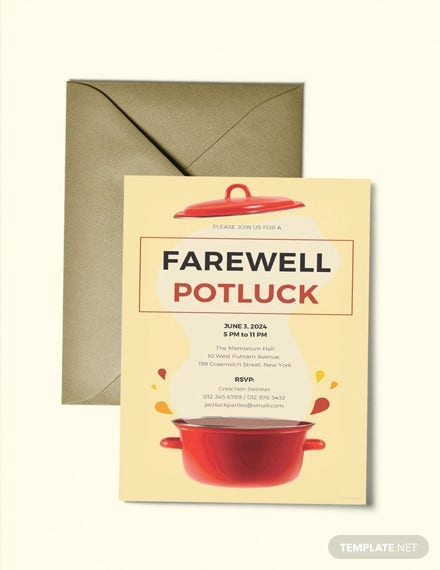 free farewell potluck invitation template