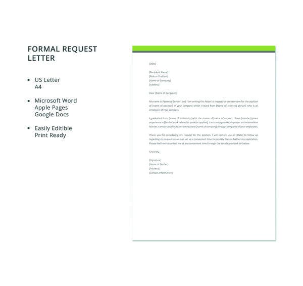 free formal interview request letter templat