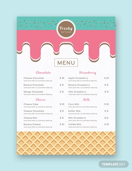 free ice cream menu template1