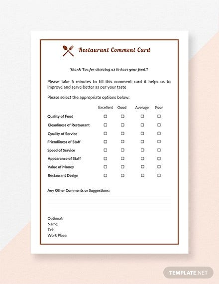 free restaurant comment card template
