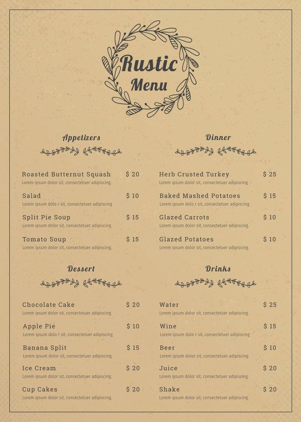 free rustic menu