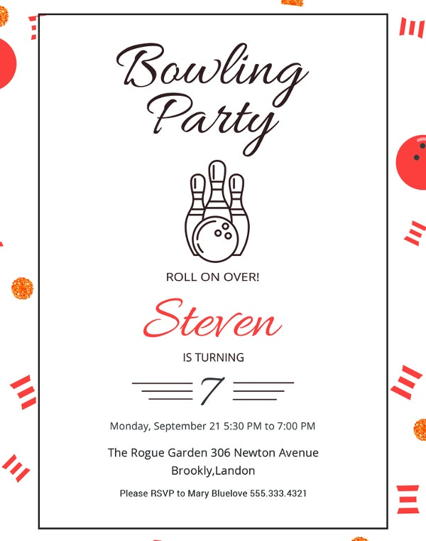 free sample bowling party invitation template