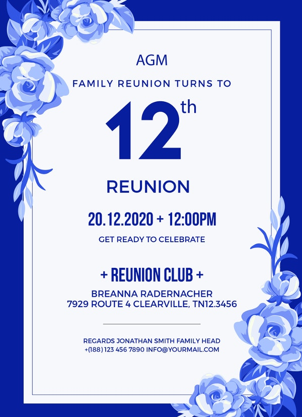 photo about Free Printable Family Reunion Invitations referred to as 15+ Reunion Invitation Templates - PSD, AI Cost-free Top quality