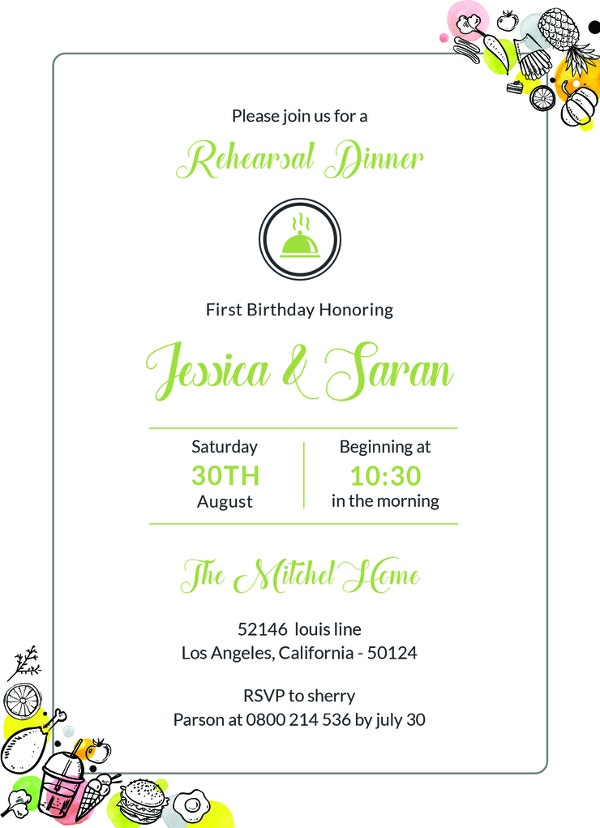 free sample rehearsal dinner invitation template