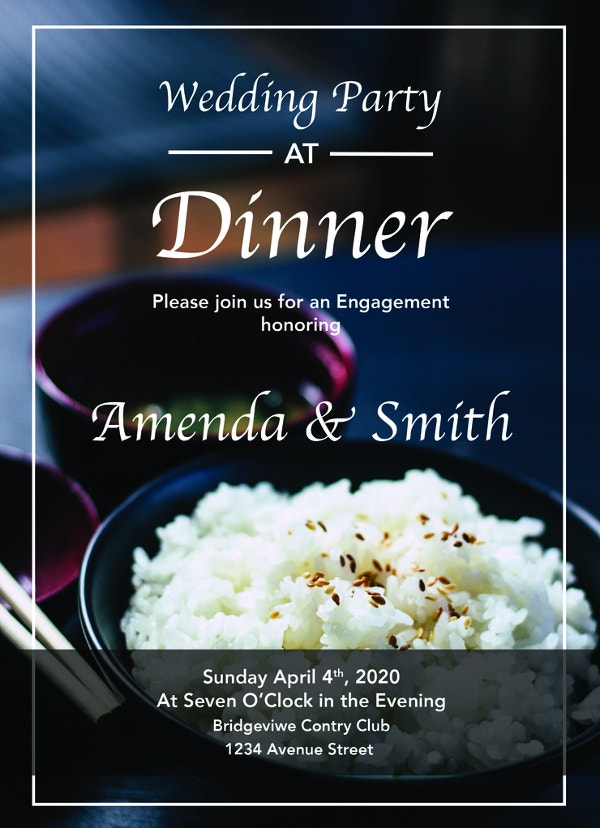 free sample wedding dinner party invitation