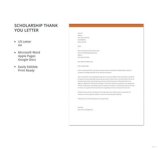 free scholarship thank you letter template