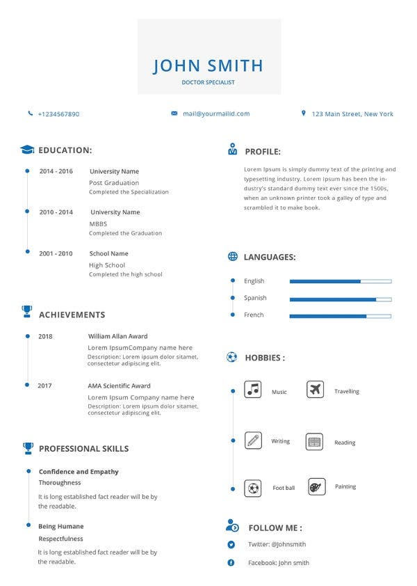 free simple doctor resume template