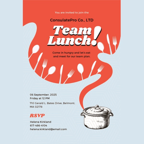 14 Team Lunch Invitations JPG Vector EPS Ai Illustrator