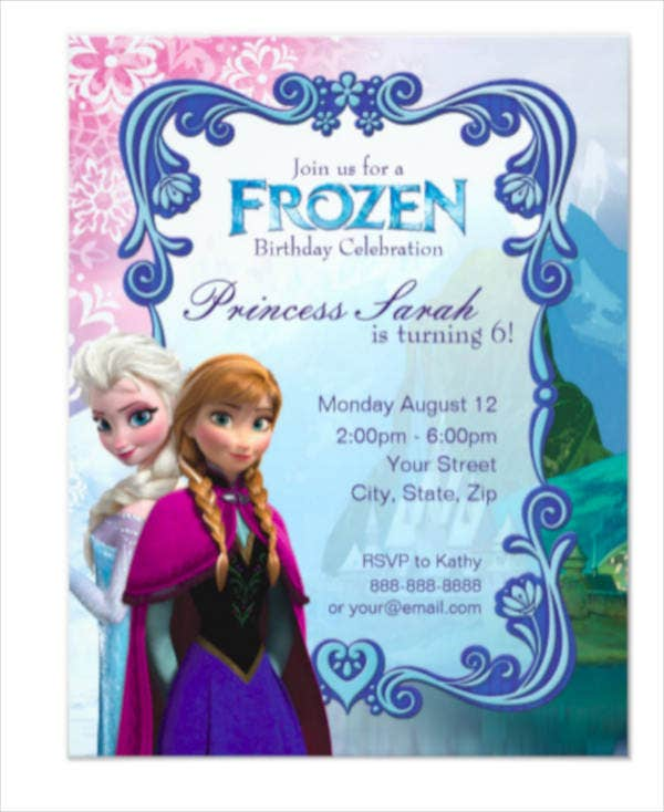 frozen party invitation card template1