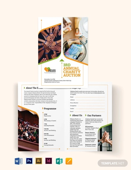 fundraising event bi fold brochure template