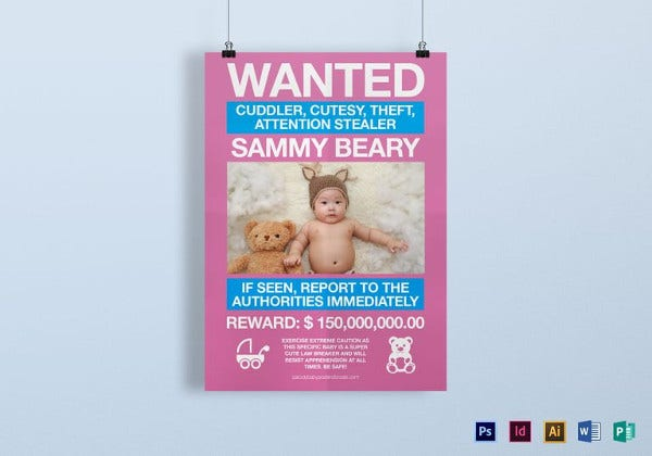 funny kids wanted poster template in psd