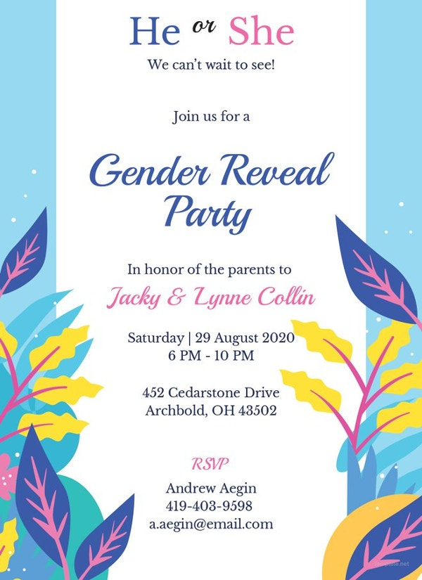 11+ Gender Reveal Party Invitations - Free Sample, Example, Format ...