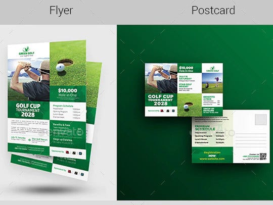 golf event flyer postcard bundle