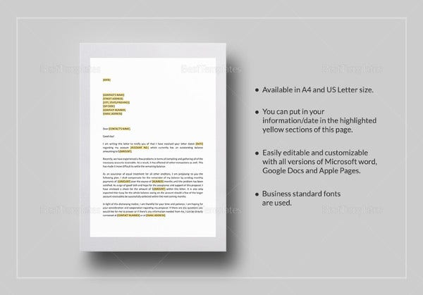 Payment Letter Templates 16 Free PDF Documents Download – Letter of Good Faith