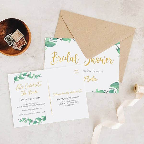 green bridal shower invitation postcard template